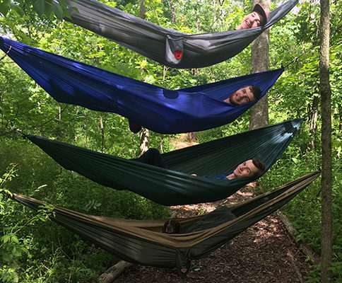 Mike and boys in hammocks